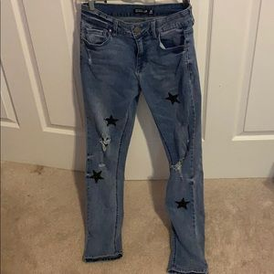 Ripped star pattern jeans